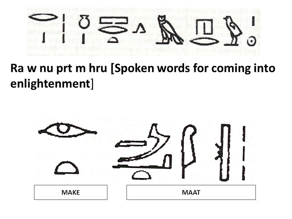 Ra w nu prt m hru [Spoken words for coming into enlightenment]
